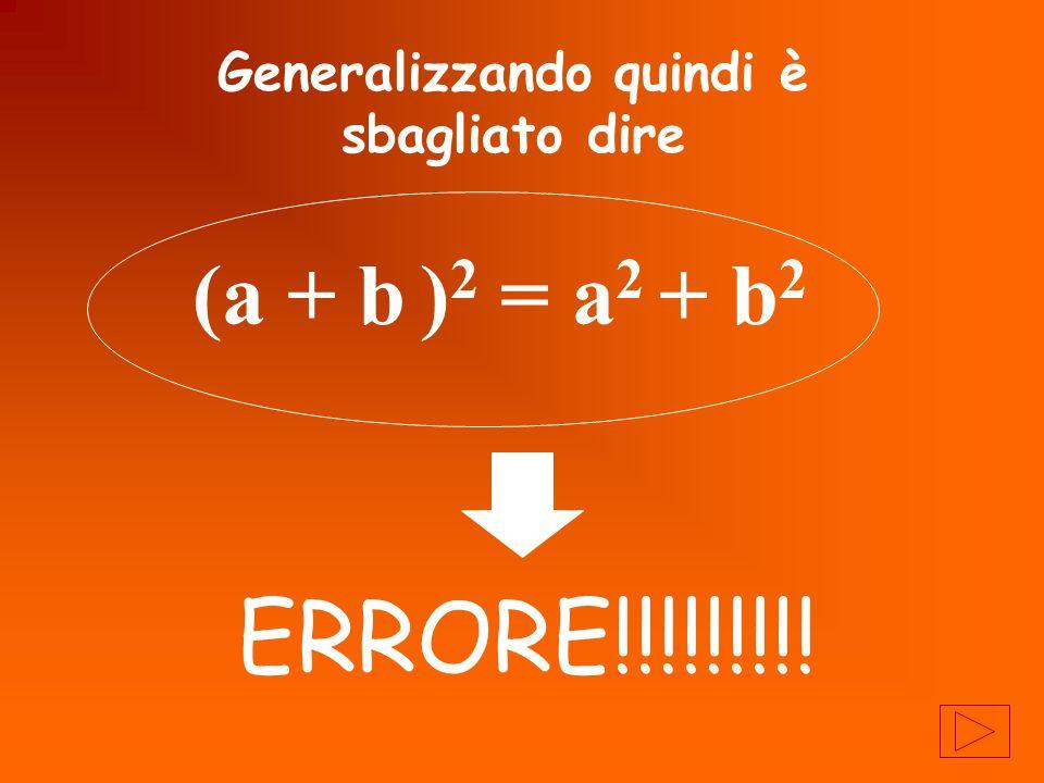 Generalizzando quindi è sbagliato dire (a + b )2 )2 = a 2 + b2b2 ERRORE!!!!!!!!!