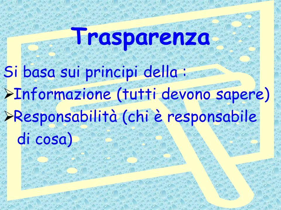 Trasparenza Si basa sui principi della : Informazione (tutti devono sapere) Responsabilità (chi è responsabile di cosa)