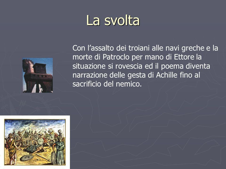 La svolta Con lassalto dei troiani alle navi greche e la morte di Patroclo per mano di Ettore la situazione si rovescia ed il poema diventa narrazione