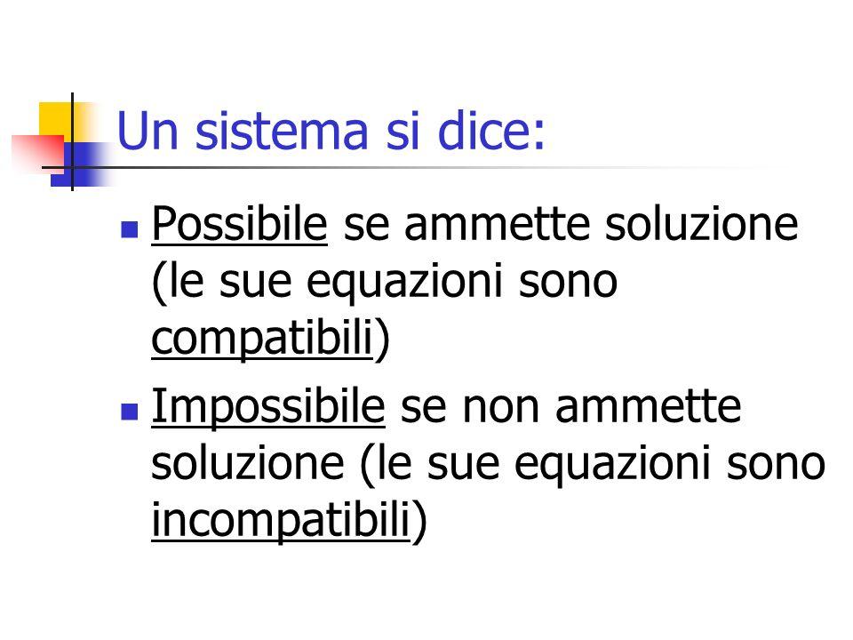Un sistema si dice: Possibile se ammette soluzione (le sue equazioni sono compatibili) Impossibile se non ammette soluzione (le sue equazioni sono inc