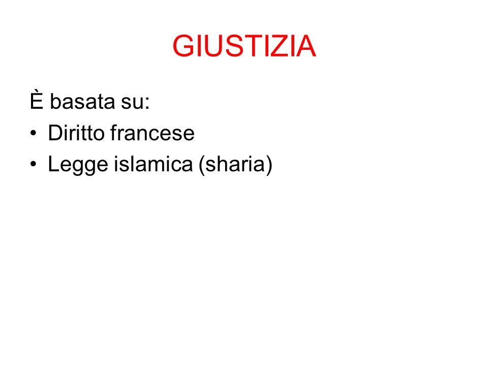 GIUSTIZIA È basata su: Diritto francese Legge islamica (sharia)