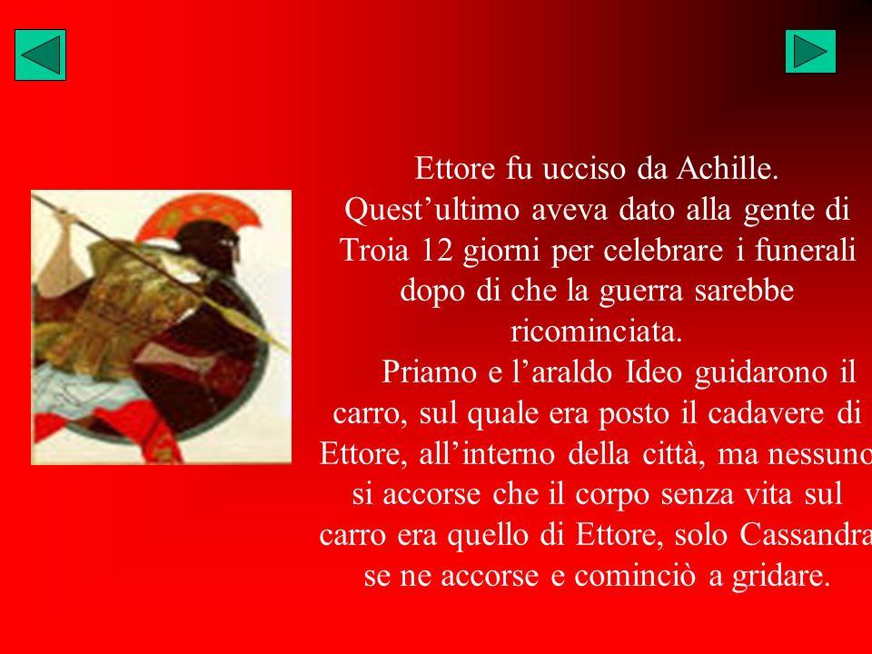Ettore fu ucciso da Achille. Questultimo aveva dato alla gente di Troia 12 giorni per celebrare i funerali dopo di che la guerra sarebbe ricominciata.
