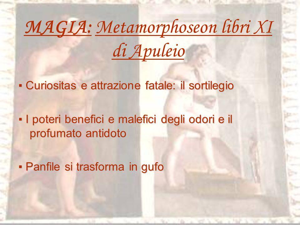 MAGIA: Metamorphoseon libri XI di Apuleio Curiositas e attrazione fatale: il sortilegio I poteri benefici e malefici degli odori e il profumato antidoto Panfile si trasforma in gufo