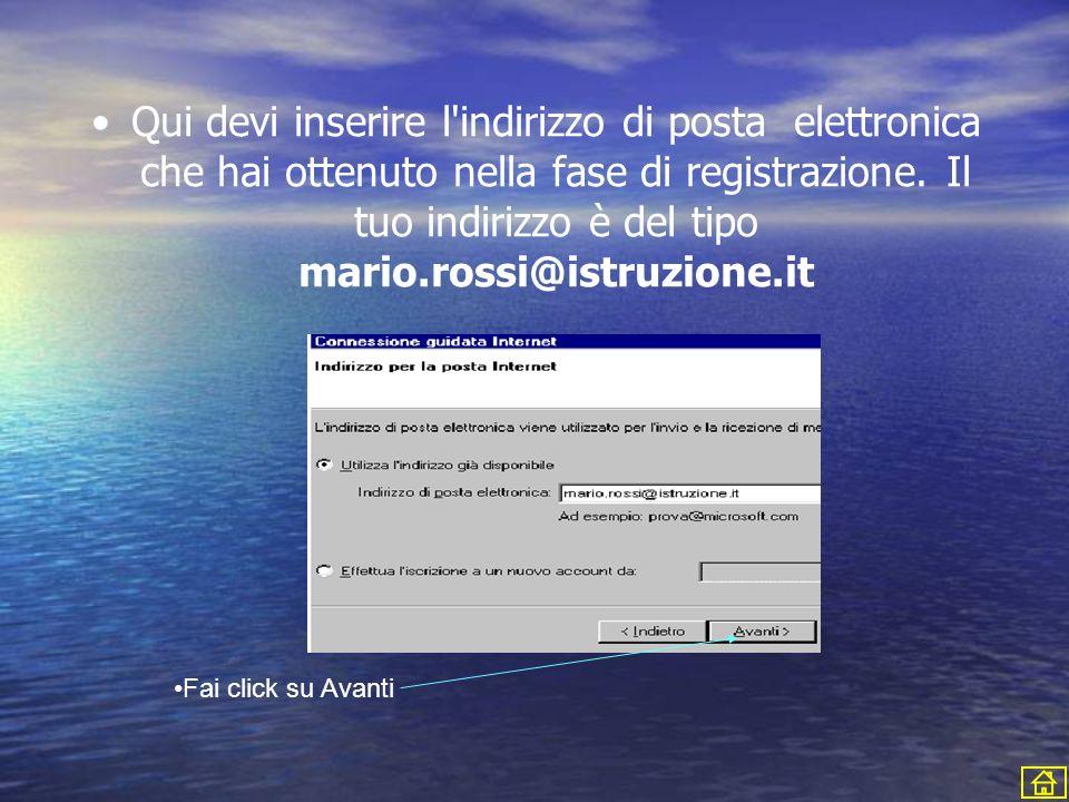 Qui devi inserire l indirizzo di posta elettronica che hai ottenuto nella fase di registrazione.