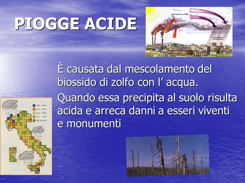 PIOGGE ACIDE È causata dal mescolamento del biossido di zolfo con l acqua. Quando essa precipita al suolo risulta acida e arreca danni a esseri vivent