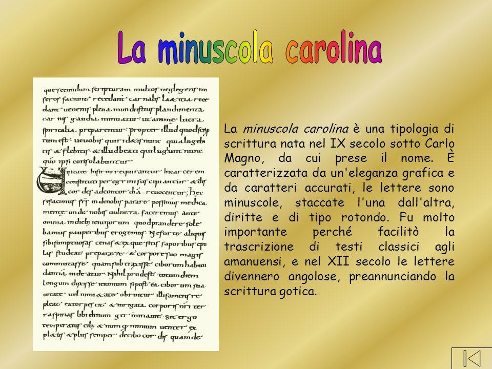 La minuscola carolina è una tipologia di scrittura nata nel IX secolo sotto Carlo Magno, da cui prese il nome.