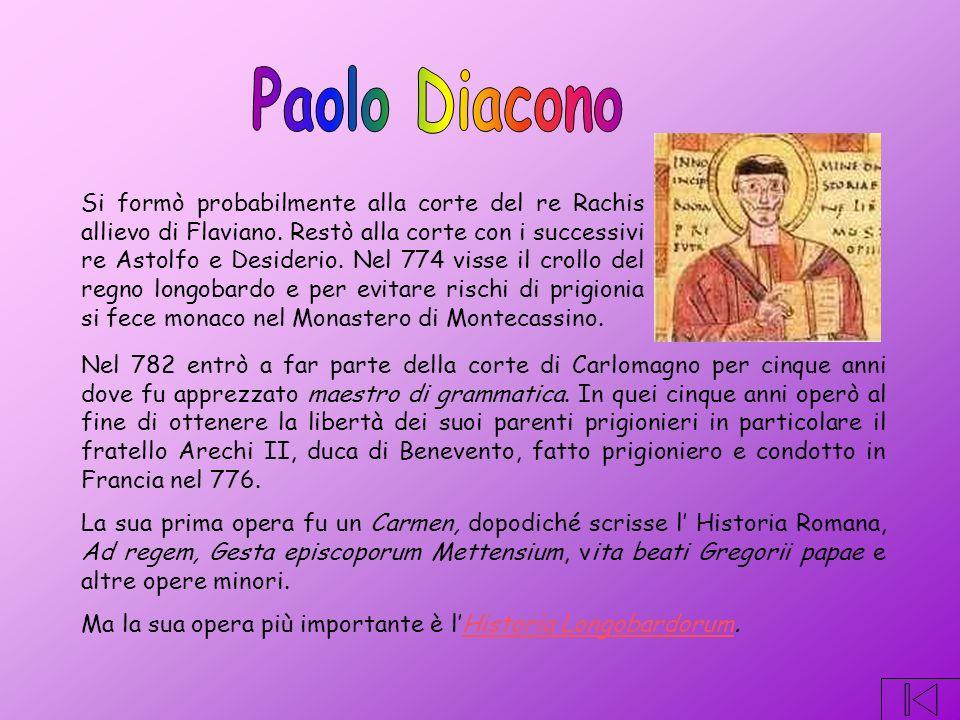 Nel 782 entrò a far parte della corte di Carlomagno per cinque anni dove fu apprezzato maestro di grammatica.