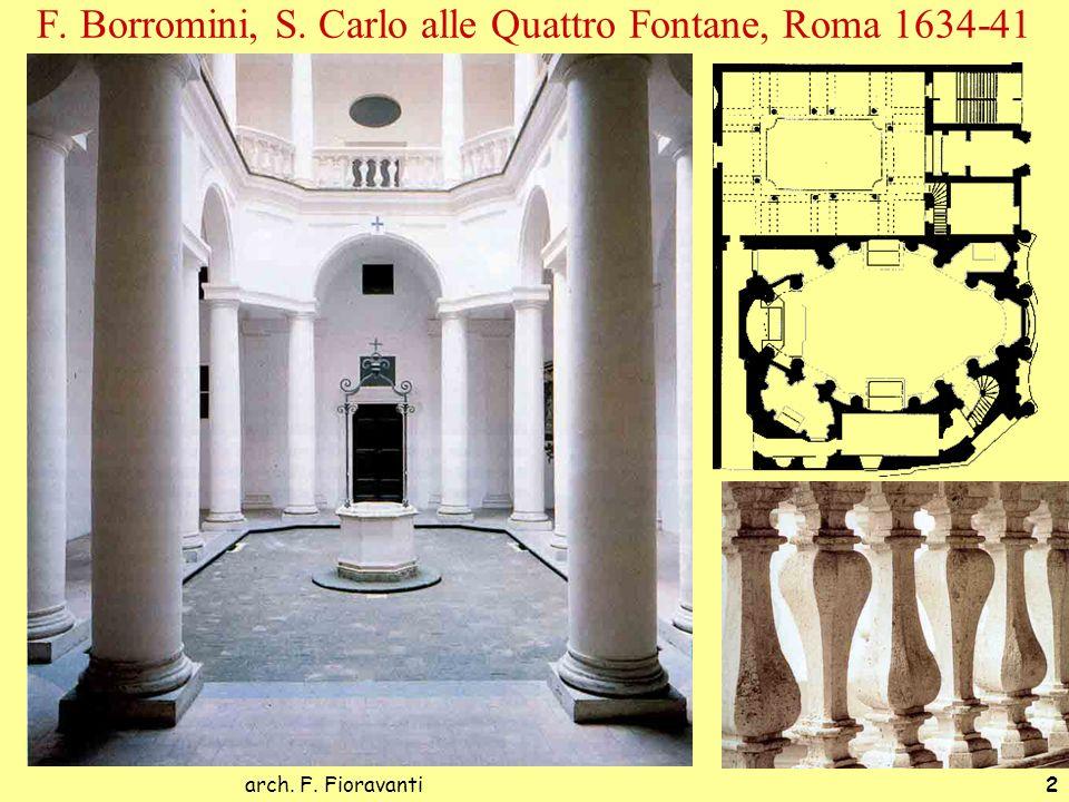 arch. F. Fioravanti2 F. Borromini, S. Carlo alle Quattro Fontane, Roma 1634-41 Spazio senza interruzioni, elementi unificanti, continui, taglio curvil