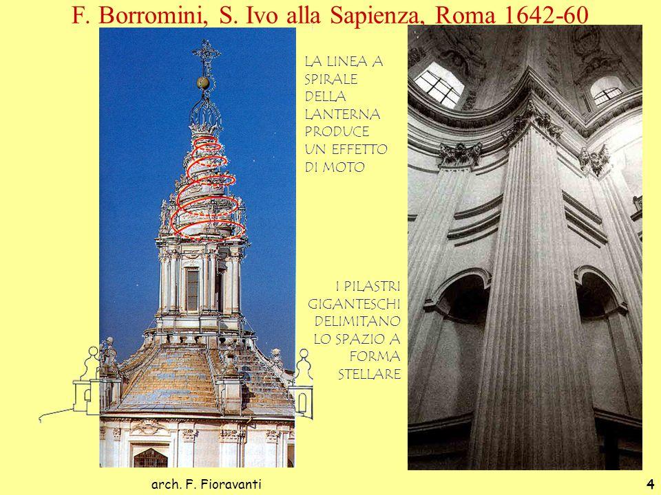 arch. F. Fioravanti4 F. Borromini, S. Ivo alla Sapienza, Roma 1642-60 LA LINEA A SPIRALE DELLA LANTERNA PRODUCE UN EFFETTO DI MOTO I PILASTRI GIGANTES