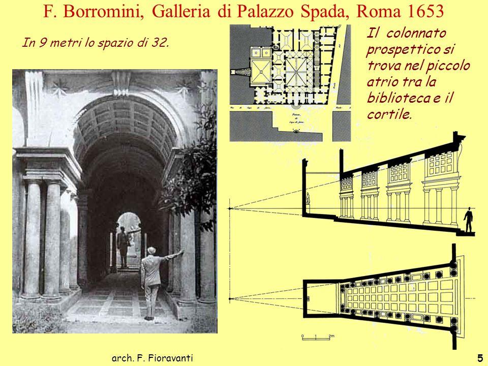 arch. F. Fioravanti5 F. Borromini, Galleria di Palazzo Spada, Roma 1653 In 9 metri lo spazio di 32. Il colonnato prospettico si trova nel piccolo atri