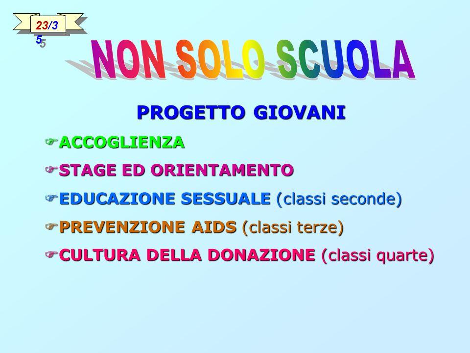 PROGETTO GIOVANI ACCOGLIENZA ACCOGLIENZA STAGE ED ORIENTAMENTO STAGE ED ORIENTAMENTO EDUCAZIONE SESSUALE (classi seconde) EDUCAZIONE SESSUALE (classi seconde) PREVENZIONE AIDS (classi terze) PREVENZIONE AIDS (classi terze) CULTURA DELLA DONAZIONE (classi quarte) CULTURA DELLA DONAZIONE (classi quarte) 23/3 5