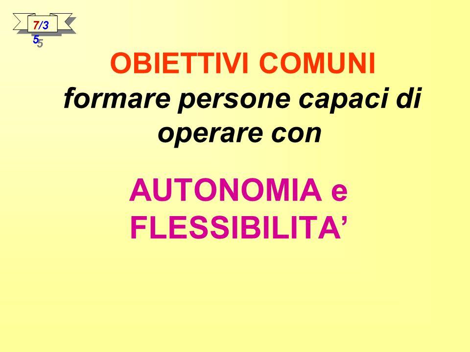OBIETTIVI COMUNI formare persone capaci di operare con AUTONOMIA e FLESSIBILITA 7/3 5