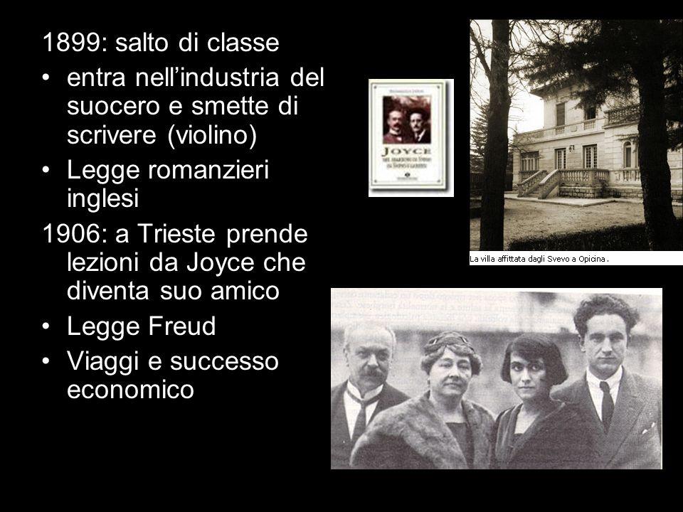 1899: salto di classe entra nellindustria del suocero e smette di scrivere (violino) Legge romanzieri inglesi 1906: a Trieste prende lezioni da Joyce