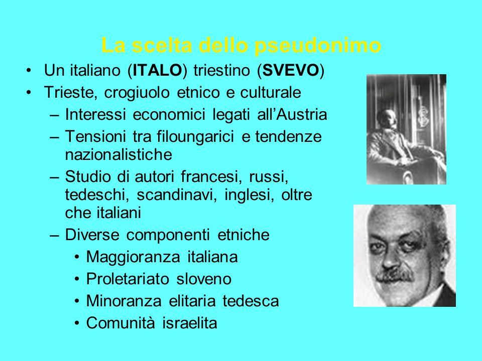 La scelta dello pseudonimo Un italiano (ITALO) triestino (SVEVO) Trieste, crogiuolo etnico e culturale –Interessi economici legati allAustria –Tension