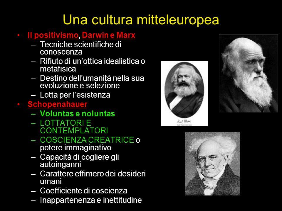 Una cultura mitteleuropea Il positivismo, Darwin e Marx –Tecniche scientifiche di conoscenza –Rifiuto di unottica idealistica o metafisica –Destino de
