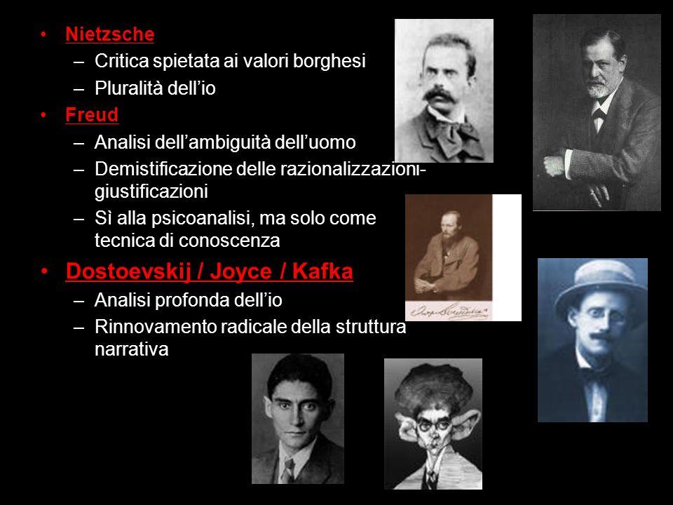 Nietzsche –Critica spietata ai valori borghesi –Pluralità dellio Freud –Analisi dellambiguità delluomo –Demistificazione delle razionalizzazioni- gius
