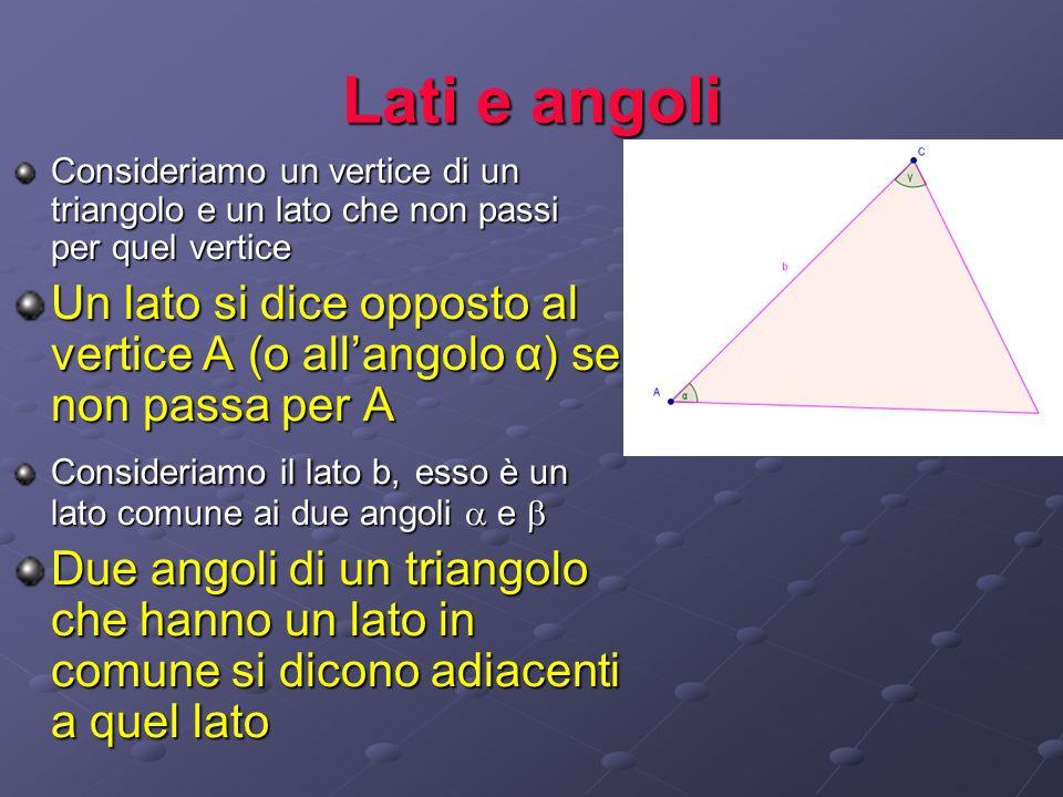 Lati e angoli Consideriamo un vertice di un triangolo e un lato che non passi per quel vertice Un lato si dice opposto al vertice A (o allangolo α) se