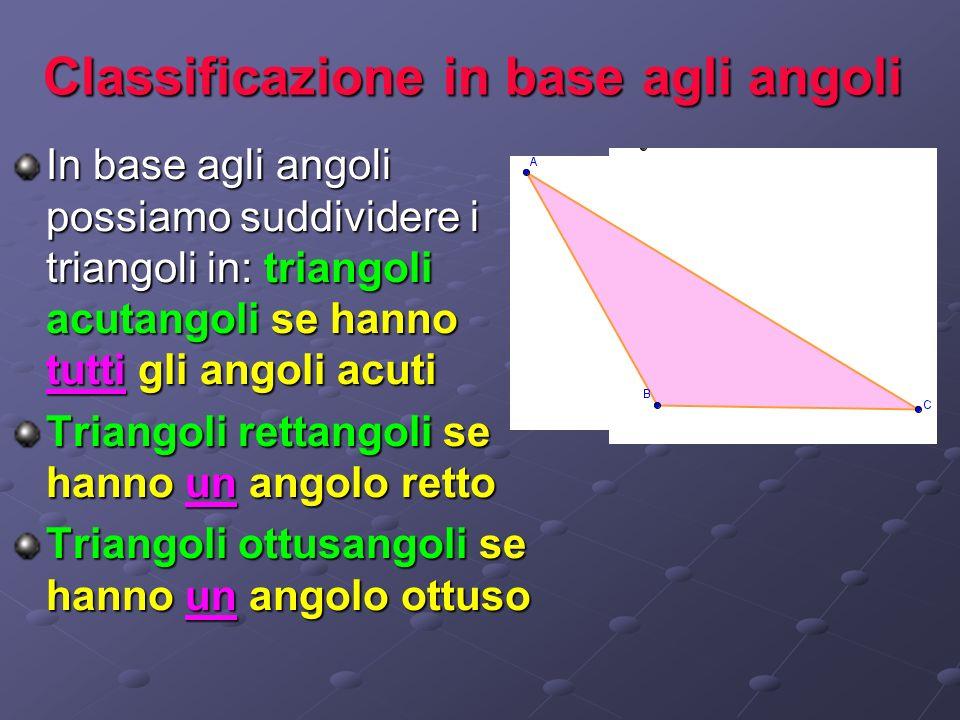Classificazione in base agli angoli In base agli angoli possiamo suddividere i triangoli in: triangoli acutangoli se hanno tutti gli angoli acuti Tria