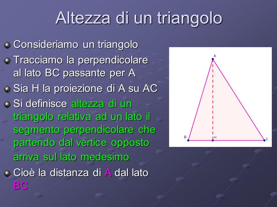 Altezza di un triangolo Consideriamo un triangolo Tracciamo la perpendicolare al lato BC passante per A Sia H la proiezione di A su AC Si definisce al