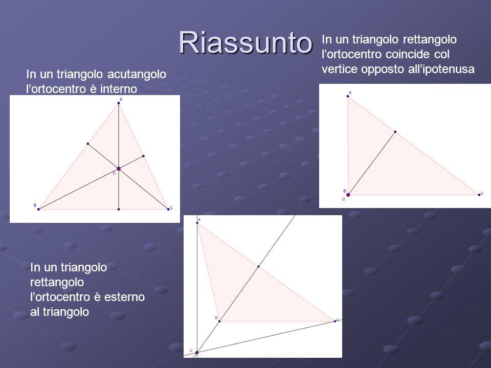 Riassunto In un triangolo acutangolo lortocentro è interno In un triangolo rettangolo lortocentro coincide col vertice opposto allipotenusa In un tria