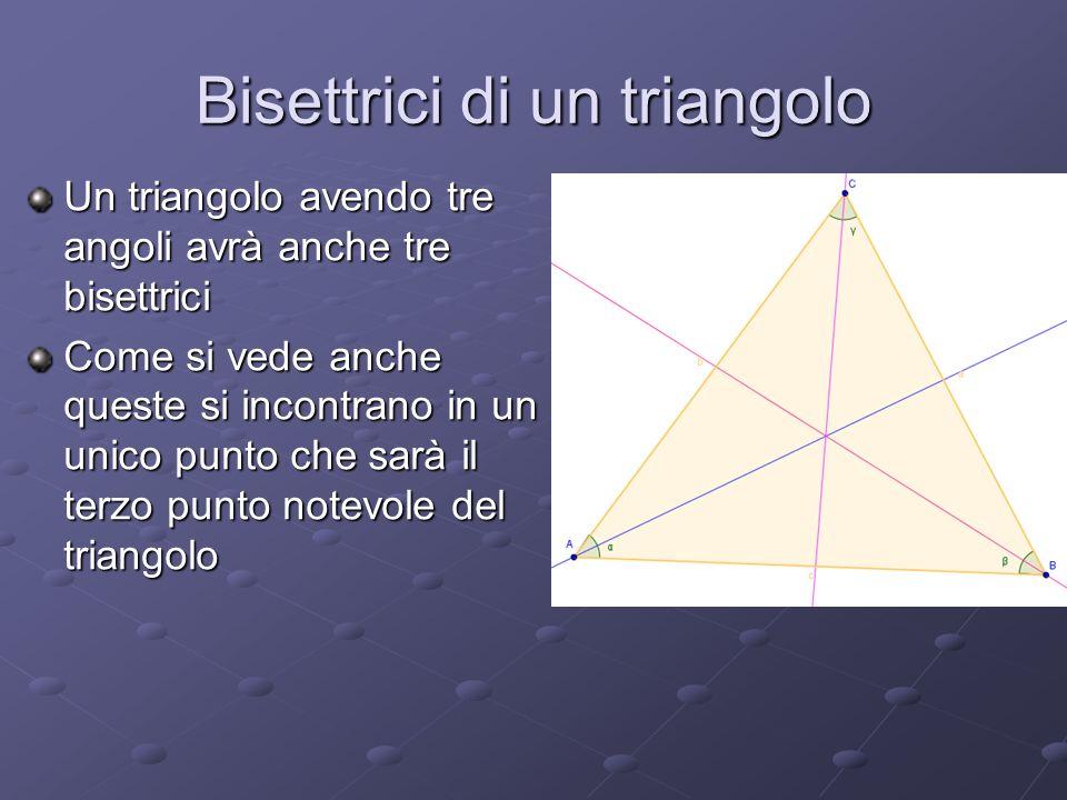 Bisettrici di un triangolo Un triangolo avendo tre angoli avrà anche tre bisettrici Come si vede anche queste si incontrano in un unico punto che sarà