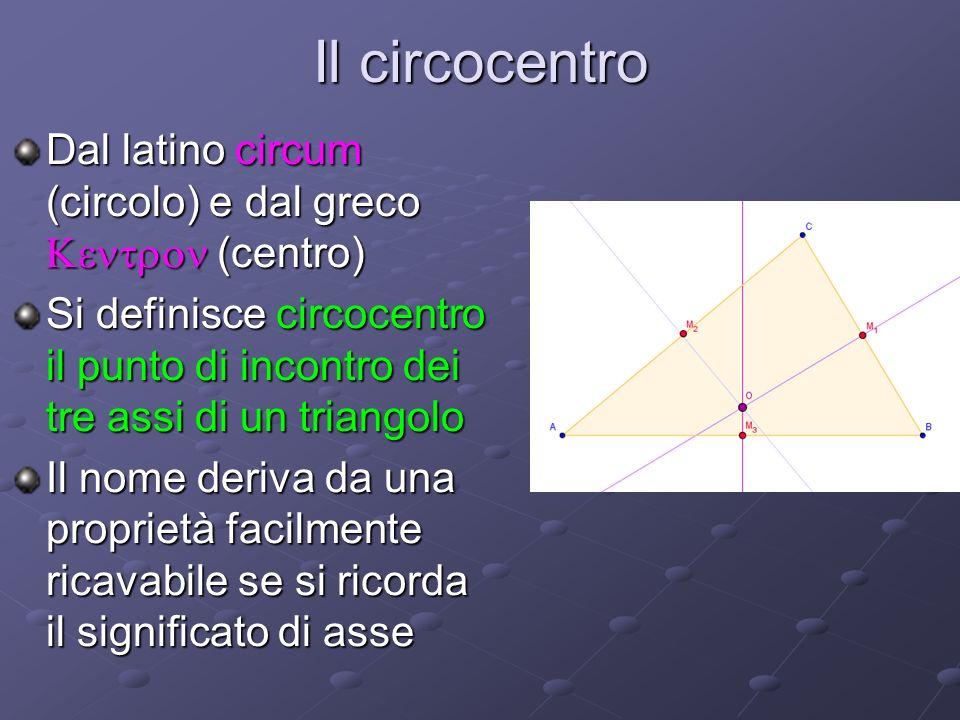 Il circocentro Dal latino circum (circolo) e dal greco (centro) Si definisce circocentro il punto di incontro dei tre assi di un triangolo Il nome der