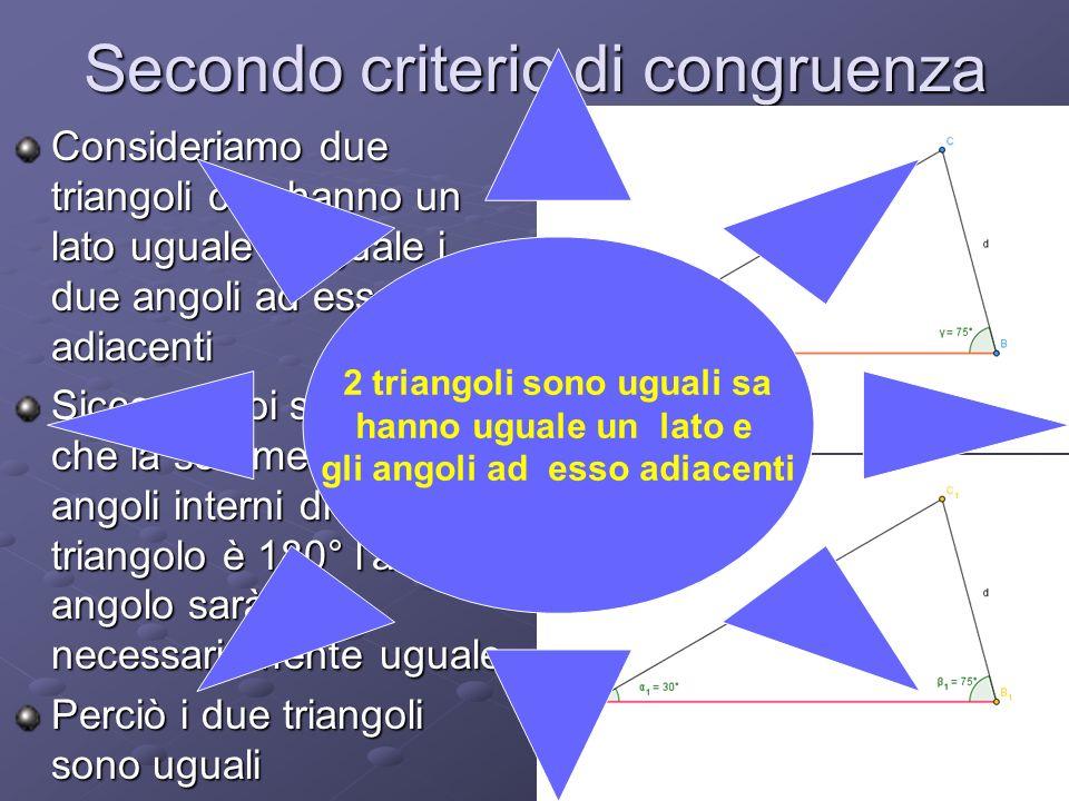Secondo criterio di congruenza Consideriamo due triangoli che hanno un lato uguale e uguale i due angoli ad esso adiacenti Siccome noi sappiamo che la