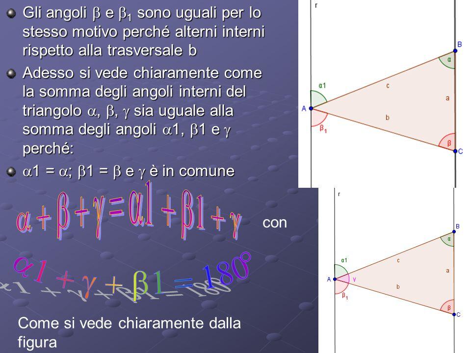 Gli angoli e 1 sono uguali per lo stesso motivo perché alterni interni rispetto alla trasversale b Adesso si vede chiaramente come la somma degli ango