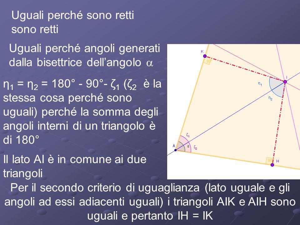 Uguali perché sono retti sono retti Uguali perché angoli generati dalla bisettrice dellangolo η 1 = η 2 = 180° - 90°- ζ 1 (ζ 2 è la stessa cosa perché