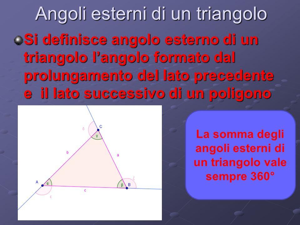 Angoli esterni di un triangolo Si definisce angolo esterno di un triangolo langolo formato dal prolungamento del lato precedente e il lato successivo