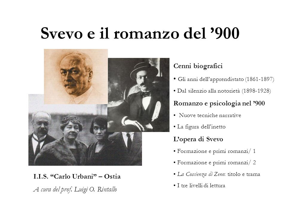 Svevo e il romanzo del 900 I.I.S. Carlo Urbani – Ostia A cura del prof. Luigi O. Rintallo Cenni biografici Gli anni dellapprendistato (1861-1897) Dal