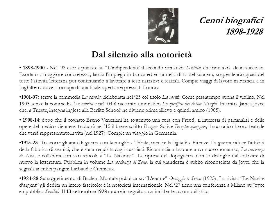 Cenni biografici 1898-1928 Dal silenzio alla notorietà 1898-1900 - Nel 98 esce a puntate su Lindipendenteil secondo romanzo: Senilità, che non avrà alcun successo.