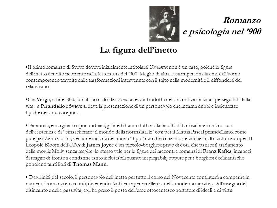 Romanzo e psicologia nel 900 Il primo romanzo di Svevo doveva inizialmente intitolarsi Un inetto: non è un caso, poiché la figura dellinetto è molto ricorrente nella letteratura del 900.