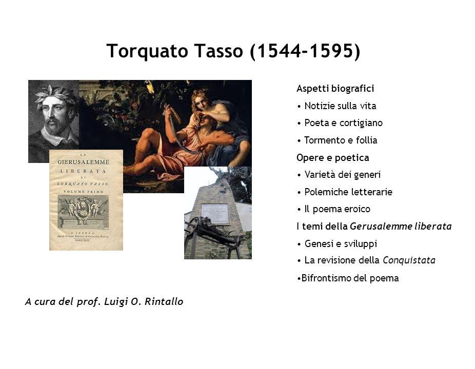 Torquato Tasso (1544-1595) A cura del prof. Luigi O. Rintallo Aspetti biografici Notizie sulla vita Poeta e cortigiano Tormento e follia Opere e poeti