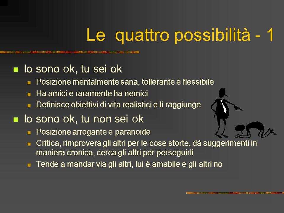 Le quattro possibilità - 1 Io sono ok, tu sei ok Posizione mentalmente sana, tollerante e flessibile Ha amici e raramente ha nemici Definisce obiettiv