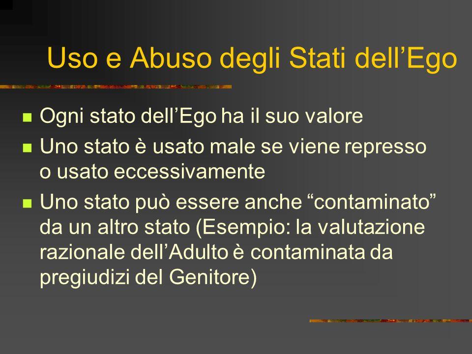Uso e Abuso degli Stati dellEgo Ogni stato dellEgo ha il suo valore Uno stato è usato male se viene represso o usato eccessivamente Uno stato può esse