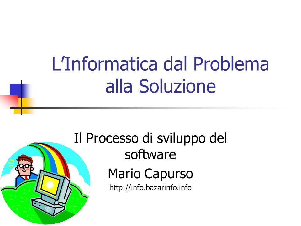 LInformatica dal Problema alla Soluzione Il Processo di sviluppo del software Mario Capurso http://info.bazarinfo.info