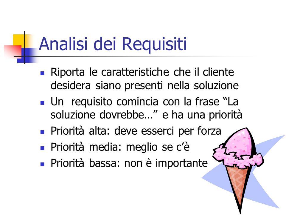 Analisi dei Requisiti Riporta le caratteristiche che il cliente desidera siano presenti nella soluzione Un requisito comincia con la frase La soluzion