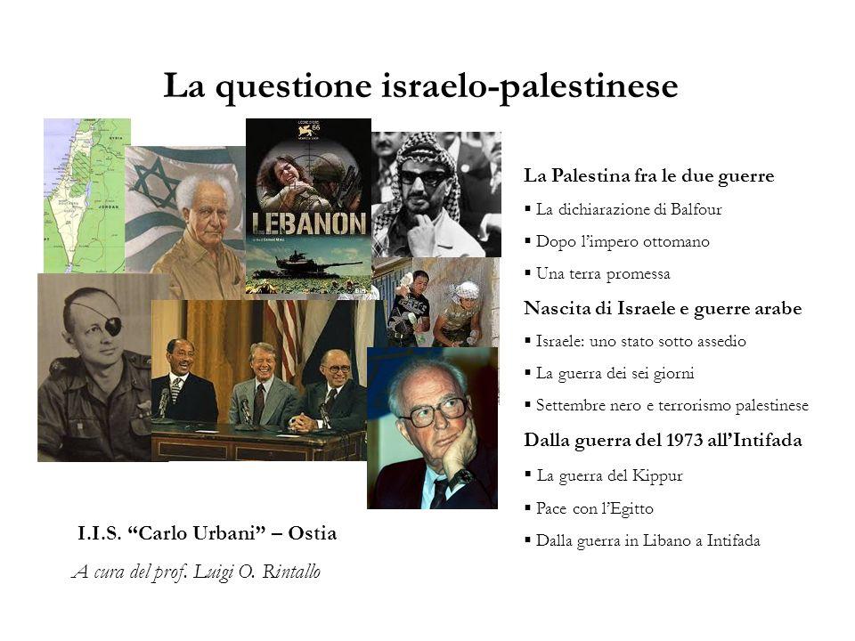 La questione israelo-palestinese /1 La Palestina fra le due guerre Nel 1917, lInghilterra si impegna con la dichiarazione del ministro degli Esteri Balfour a creare in Palestina una patria per gli Ebrei.