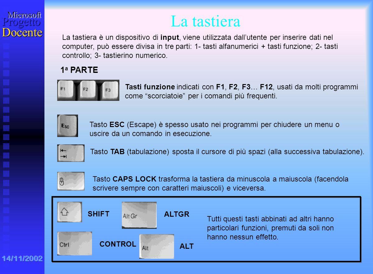 MicrosoftProgetto Docente 14/11/2002 n n floppy disk : è il dischetto magnetico, di capacità relativamente ridotta (1,44 MB). Inserito in un drive vie