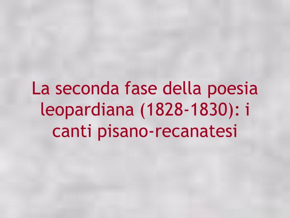 La seconda fase della poesia leopardiana (1828-1830): i canti pisano-recanatesi