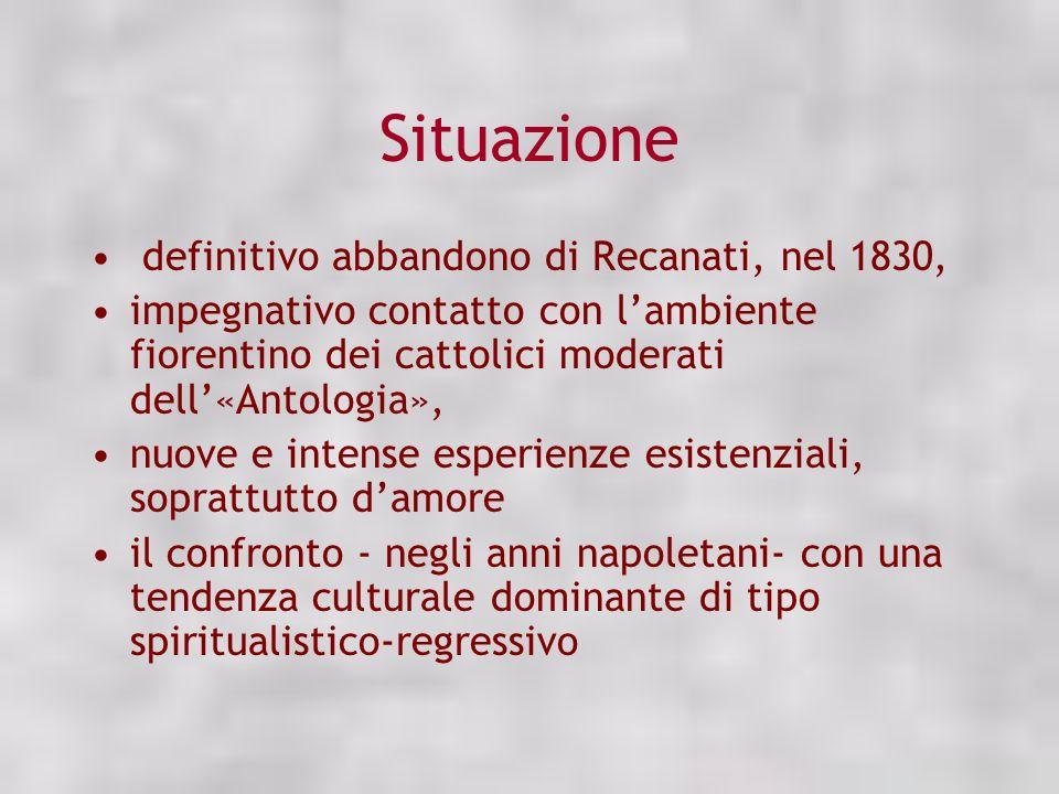 Situazione definitivo abbandono di Recanati, nel 1830, impegnativo contatto con lambiente fiorentino dei cattolici moderati dell«Antologia», nuove e i