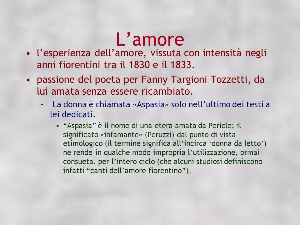 Lamore lesperienza dellamore, vissuta con intensità negli anni fiorentini tra il 1830 e il 1833. passione del poeta per Fanny Targioni Tozzetti, da lu