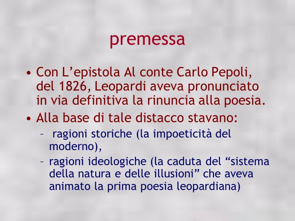 premessa Con Lepistola Al conte Carlo Pepoli, del 1826, Leopardi aveva pronunciato in via definitiva la rinuncia alla poesia. Alla base di tale distac