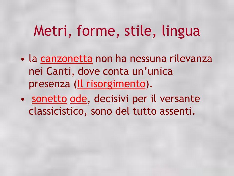 Metri, forme, stile, lingua la canzonetta non ha nessuna rilevanza nei Canti, dove conta ununica presenza (Il risorgimento).canzonettaIl risorgimento