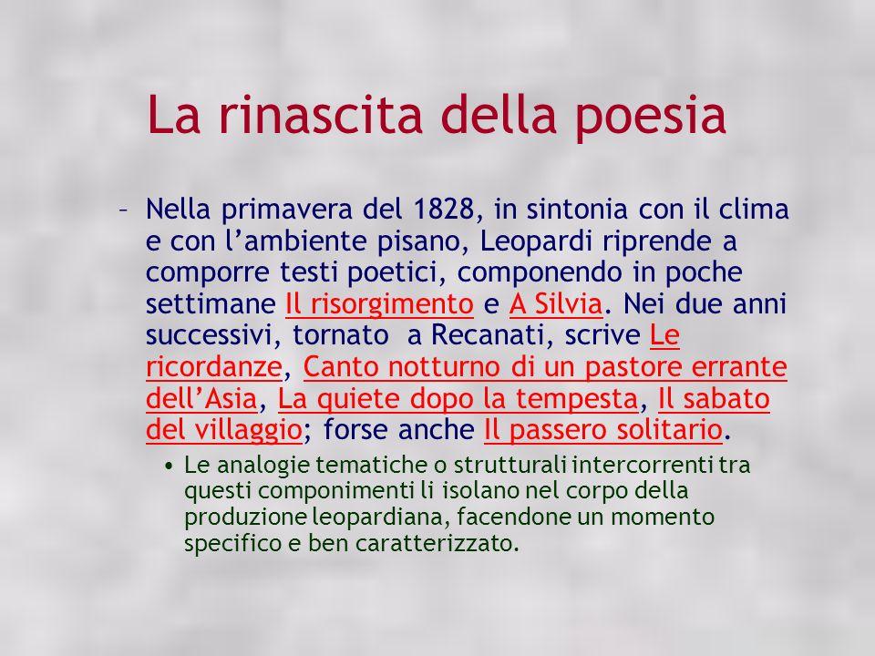 La rinascita della poesia –Nella primavera del 1828, in sintonia con il clima e con lambiente pisano, Leopardi riprende a comporre testi poetici, comp