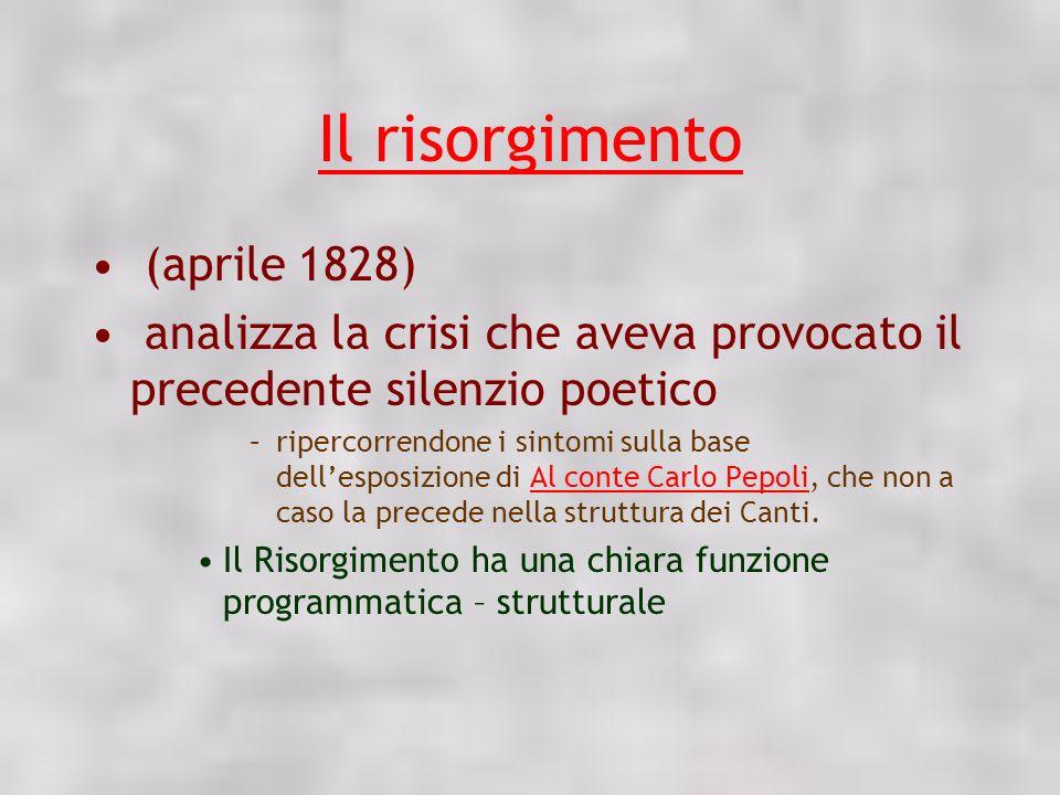 Il risorgimento (aprile 1828) analizza la crisi che aveva provocato il precedente silenzio poetico –ripercorrendone i sintomi sulla base dellesposizio