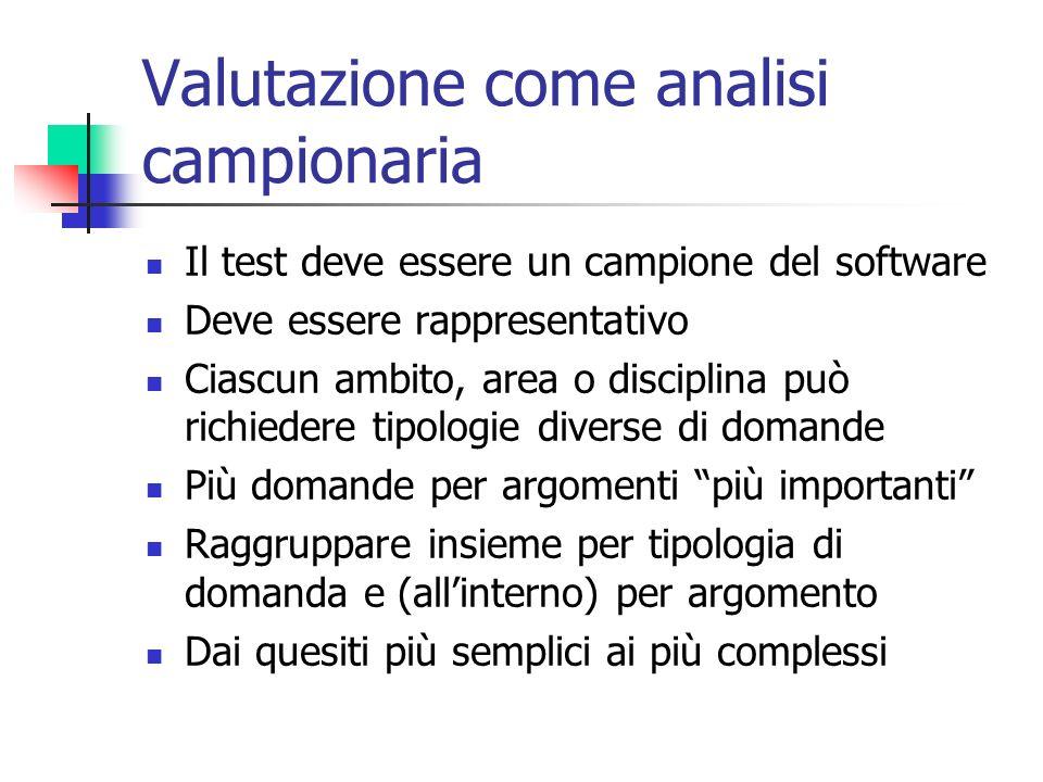 Valutazione come analisi campionaria Il test deve essere un campione del software Deve essere rappresentativo Ciascun ambito, area o disciplina può ri