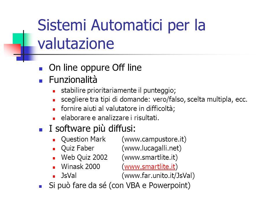 Sistemi Automatici per la valutazione On line oppure Off line Funzionalità stabilire prioritariamente il punteggio; scegliere tra tipi di domande: vero/falso, scelta multipla, ecc.