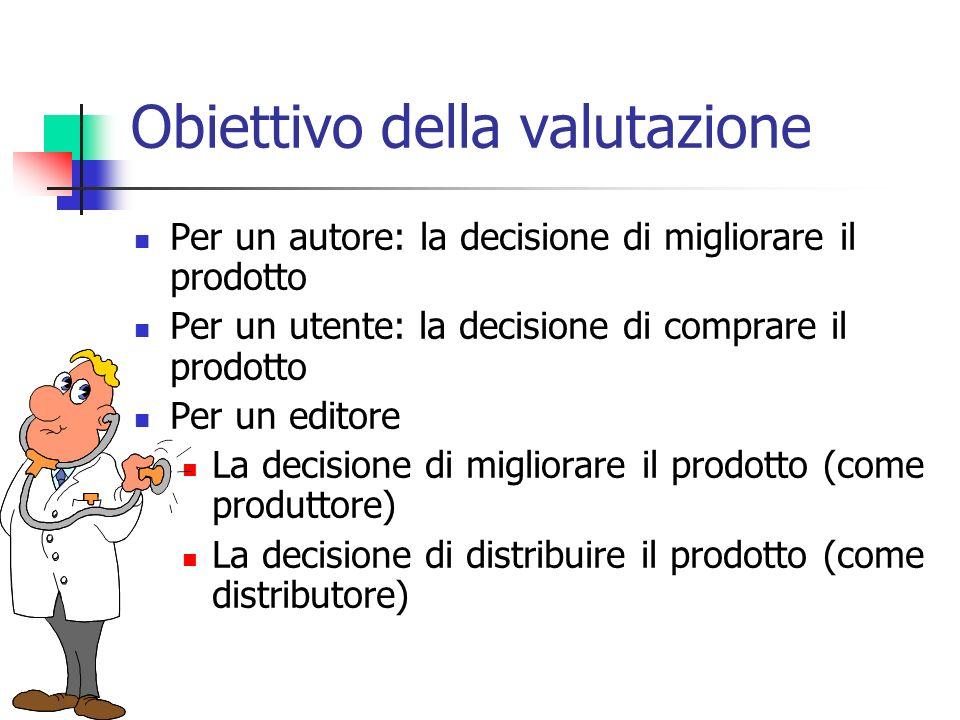 Obiettivo della valutazione Per un autore: la decisione di migliorare il prodotto Per un utente: la decisione di comprare il prodotto Per un editore La decisione di migliorare il prodotto (come produttore) La decisione di distribuire il prodotto (come distributore)